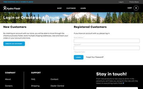 Screenshot of Login Page hydroflask.com - Customer Login - captured July 5, 2017