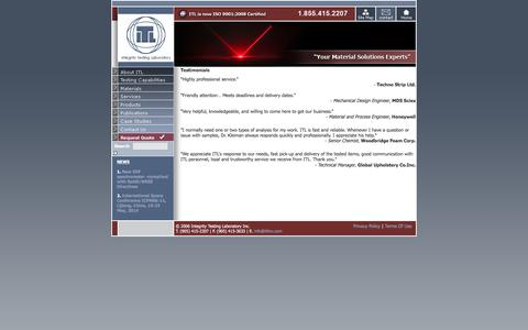 Screenshot of Testimonials Page itlinc.com - Testimonials - ITL Inc. - captured Nov. 26, 2015