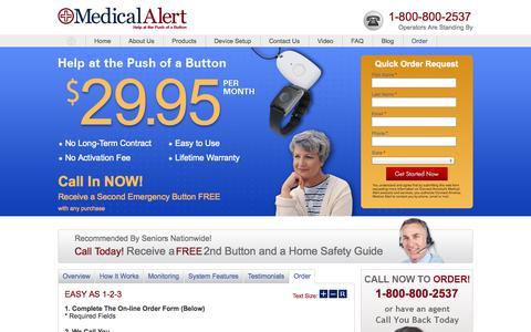 Screenshot of Landing Page medicalalert.com - Medical Alert System Online Order Request - captured Oct. 27, 2014