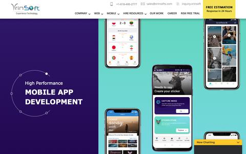 Screenshot of Home Page vrinsofts.com - ᐅ Vrinsoft: Mobile App Development Company, Android and iPhone App Development India, USA - captured Nov. 5, 2018