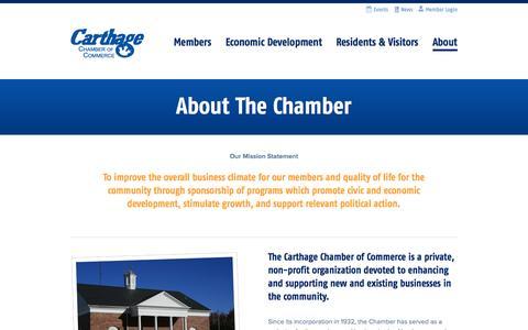 Screenshot of About Page carthagechamber.com - About The Chamber|Carthage Chamber of Commerce - captured Oct. 2, 2014