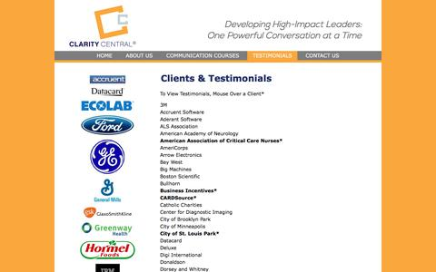 Screenshot of Testimonials Page claritycentral.net - Clients & Testimonials | - captured July 18, 2018