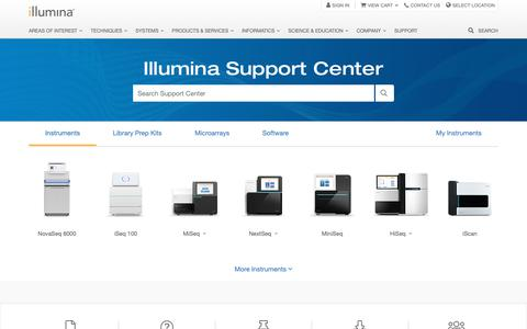 Screenshot of Support Page illumina.com - Support Center - captured March 31, 2019