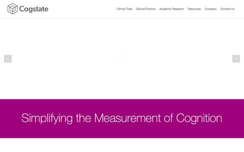 Screenshot of Home Page cogstate.com - Cogstate - Leaders in optimizing the measure of cognition - captured June 21, 2019