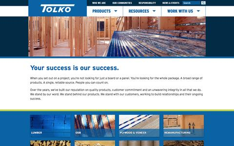 Screenshot of Products Page tolko.com - Products - Tolko - captured Feb. 22, 2016