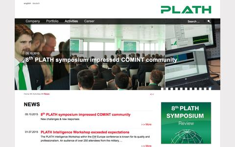 Screenshot of Press Page plath-ag.ch - News - PLATH AG - Solutions for COMINT, EW and ICM - captured Dec. 5, 2015