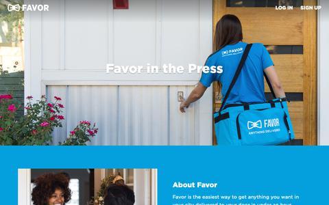 Screenshot of Press Page favordelivery.com - Press - captured Nov. 8, 2018