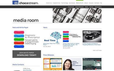 Screenshot of Press Page choicestream.com - Media Room  |  ChoiceStream - captured July 19, 2014