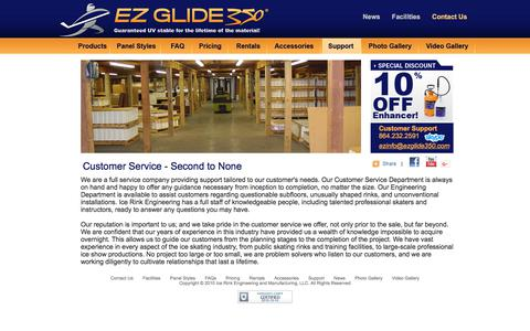 Screenshot of Support Page ezglide350.com - EZ Glide 350 Customer Service. - captured July 9, 2018