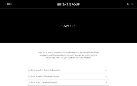 Screenshot of Jobs Page brisas.com.mx - Bolsa de Trabajo | Vacantes disponibles - Grupo Brisas - captured June 27, 2017