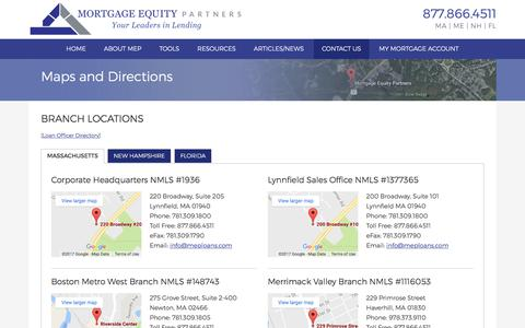 Screenshot of Maps & Directions Page mortgageequitypartners.com - Maps and Directions | Mortgage Equity Partners - captured June 16, 2017