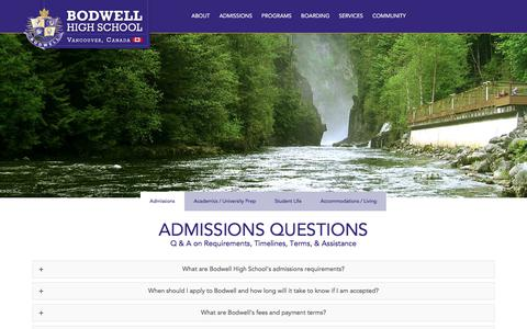 Screenshot of FAQ Page bodwell.edu - Common Questions Related to Bodwell High School - captured Sept. 22, 2018