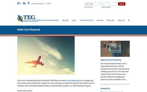 Screenshot of tegfcu.com - Debit Card Rewards – TEG Federal Credit Union - captured Dec. 2, 2017
