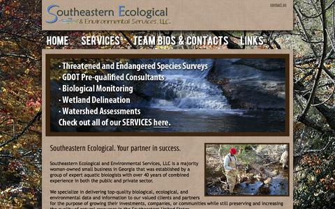Screenshot of Home Page southeasternecological.com - Southeastern Ecological & Enviromental Services - captured Oct. 8, 2014