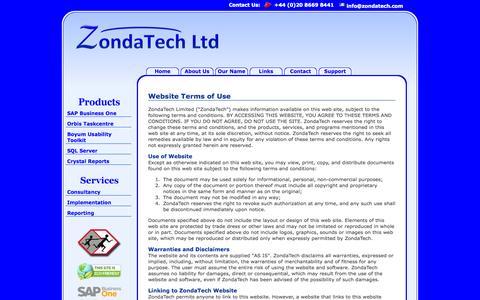 Screenshot of Terms Page zondatech.com - ZondaTech Limited - captured Oct. 27, 2014