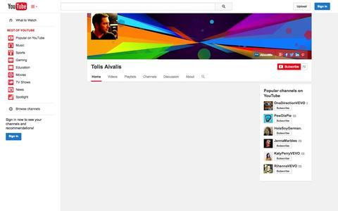 Screenshot of YouTube Page youtube.com - Tolis Aivalis  - YouTube - captured Nov. 2, 2014