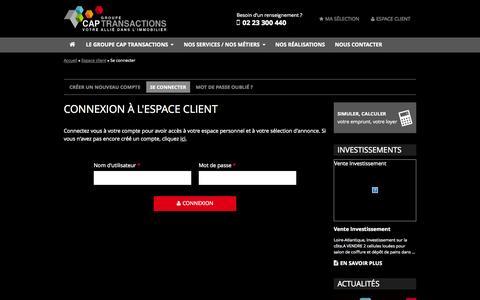 Screenshot of Login Page cap-transactions.com - Cap Transactions - Votre allié dans l'immobilier professionnel en Bretagne - captured Oct. 28, 2014