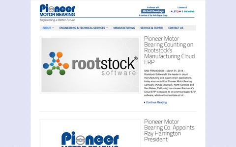 Screenshot of Press Page pioneer1.com - Pioneer Motor Bearing Co. | News - captured Oct. 2, 2014