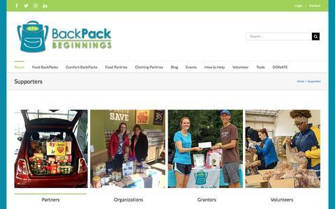 Screenshot of backpackbeginnings.org - Supporters – Backpack Beginnings - captured March 3, 2017
