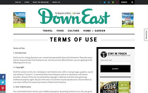 Screenshot of Terms Page downeast.com - Terms of Use - captured Sept. 24, 2014
