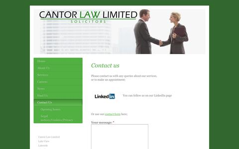 Screenshot of Contact Page cantorlaw.co.uk - Contact Us - Cantor Law Limited - captured Oct. 1, 2014