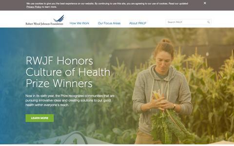 Screenshot of Home Page rwjf.org - Robert Wood Johnson Foundation - captured Sept. 24, 2018
