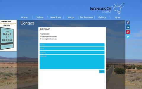 Screenshot of Contact Page ingeniousoz.com.au - Contact - captured Nov. 26, 2016