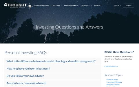 Screenshot of FAQ Page 4tfg.com - Investing Questions and Answers by 4Thought Financial Group - captured Nov. 13, 2017