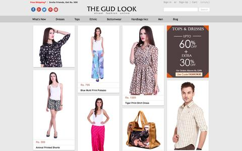 Screenshot of Home Page thegudlook.com - Online Shopping India | Shop Dresses,Tops,Handbags & Ethnic Wear For Women - thegudlook - captured Sept. 19, 2014