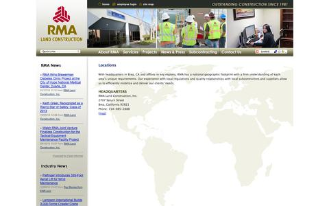 Screenshot of Locations Page rmaland.com - RMA Land Construction - Locations - captured Oct. 7, 2014