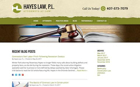 Screenshot of Blog const-law.com - Blog | Hayes Law, P.L. - captured July 22, 2017