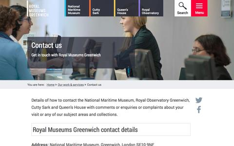 Screenshot of Contact Page rmg.co.uk - Contact us | Royal Museums Greenwich - captured Jan. 19, 2016