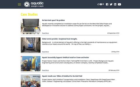 Screenshot of Case Studies Page aquaticsubsea.com - Case studies - Aquatic Subsea - captured Oct. 4, 2018