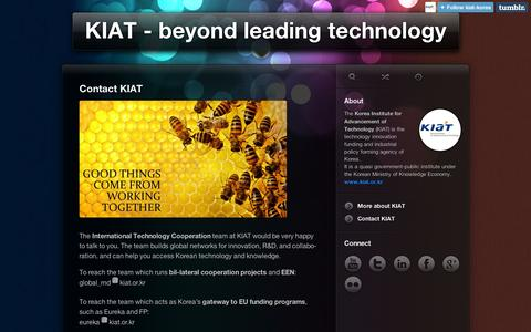 Screenshot of Contact Page tumblr.com - KIAT - beyond leading technology • Contact KIAT - captured Sept. 11, 2014
