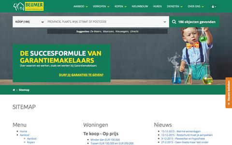 Screenshot of Site Map Page beumer.nl - Beumer Garantiemakelaars - Sitemap - captured Feb. 7, 2016