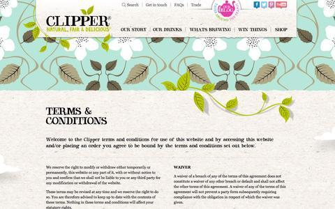 Screenshot of Terms Page clipper-teas.com - T's and C's | Clipper Teas - captured Nov. 2, 2014