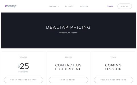 Screenshot of Pricing Page dealtap.ca - DealTap Pricing - Simple monthly and annual plans - captured Aug. 1, 2016