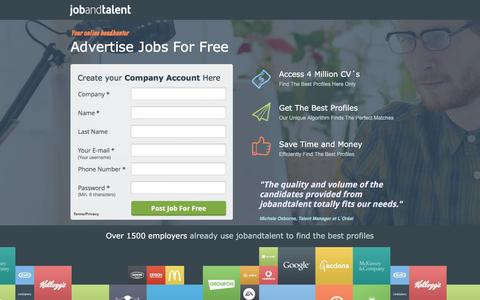 Screenshot of Landing Page jobandtalent.com - Innovative Job Platform - captured Feb. 24, 2016