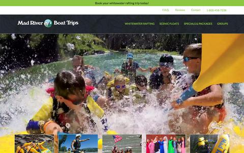 Screenshot of Home Page mad-river.com - White Water Rafting Jackson Hole, Wyoming - Snake River Boat Trips - captured Sept. 22, 2018