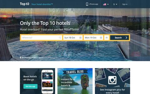 Screenshot of Home Page top10.com - Top10 - Your hotel shortlist - captured Oct. 2, 2015