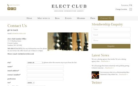 Screenshot of Contact Page electclub.co.uk - Contact us - Dating & Matchmaking Agency | Elect Club London - captured July 23, 2017