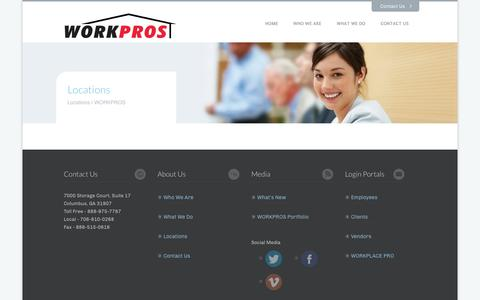 Screenshot of Locations Page workpros.com - Locations | WORKPROS - captured Oct. 7, 2014