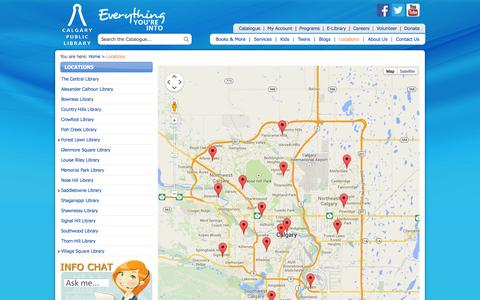 Screenshot of Locations Page calgarypubliclibrary.com - CPL: Locations - captured Sept. 23, 2014