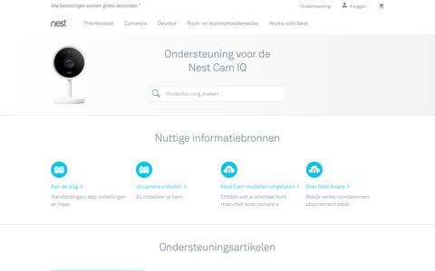 Screenshot of Support Page nest.com - Ondersteuning voor de NestCam IQ   Nest - captured Jan. 14, 2018
