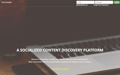 Screenshot of Home Page fostergem.com - FosterGem   A Link Discovery Platform - captured Aug. 3, 2015
