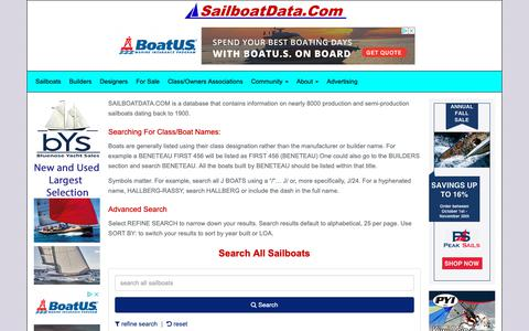Screenshot of Home Page sailboatdata.com - SailboatData.com - the worlds largest sailboat database - captured Nov. 8, 2018