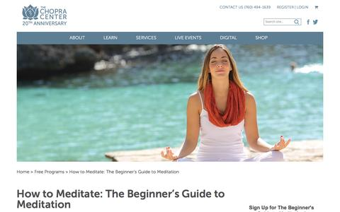 Screenshot of Signup Page chopra.com - How to Meditate: The Beginner's Guide to Meditation | The Chopra Center - captured Nov. 26, 2016