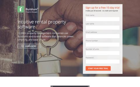 Screenshot of Landing Page buildium.com - Rental Management Software – Learn Buildium - captured April 5, 2016