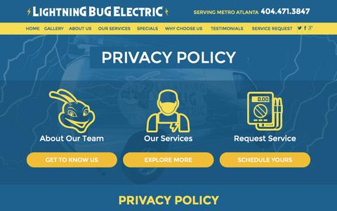 Screenshot of Privacy Page lightningbugelectric.com - Privacy Policy | Marietta Electrician - captured Dec. 10, 2015