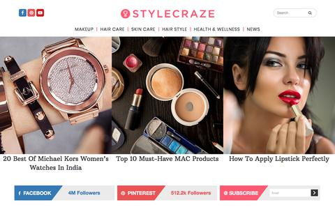 Screenshot of Home Page stylecraze.com - Welcome to StyleCraze - World's Largest Beauty Community - captured Aug. 23, 2017